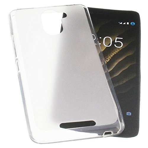 foto-kontor Tasche für Bq Aquaris U Plus Gummi TPU Schutz Handytasche transparent weiß