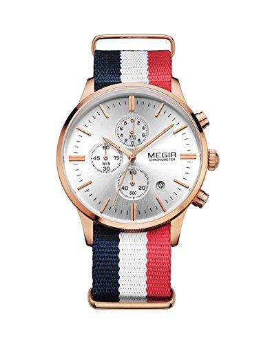 Megir Modische Herren-Armbanduhr, Chronograph, mit Datumsanzeige, Quarzuhrwerk, Canvas-Armband