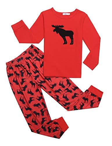 trudge Schlafanzug Jungen Langarm Kinder Zweiteiliger Nachtwäsche Pyjama Sets, Rot Rentier, 140