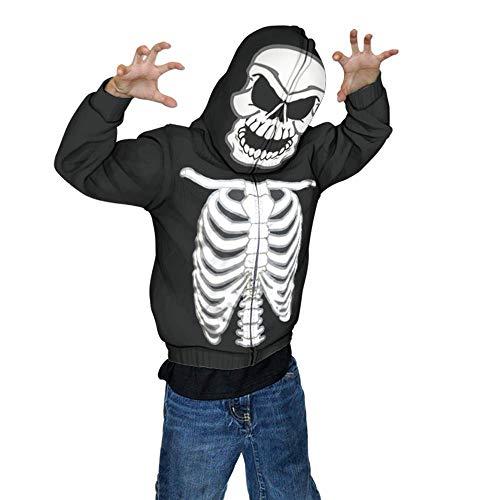 Glow in The Dark Skeleton Mask Full Zip Up Hoodie Halloween Costume for Boys (Medium/8) Black