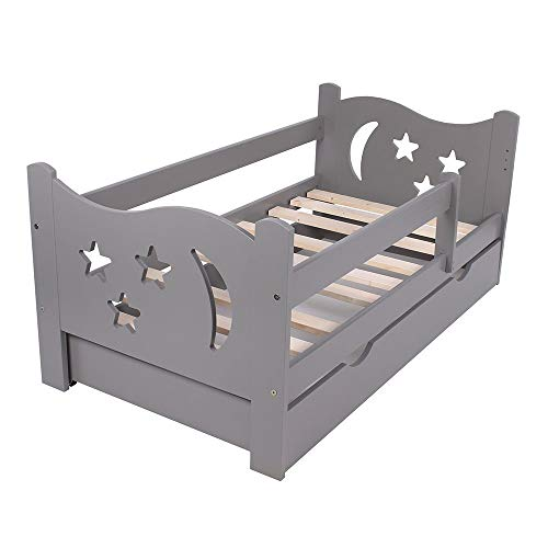 KAGU Chrisi Kinderbett Jugendbett Juniorbett Bett (140x70 cm oder 160x80 cm). Kiefernholz Massivholz inkl. Matratze und Schublade. (140 x 70 cm, Grau)