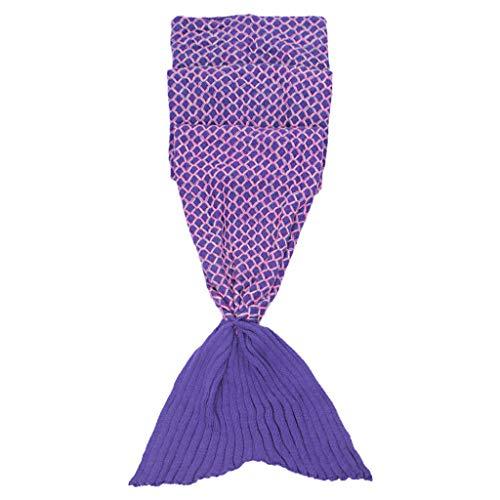 Betrothales Fisch Meerjungfrau Schwanz Form Häkeln Stricken Casual Chic Schlafsack Decke Für Mädchen Kinder Sofa Bett Haus Camping Blau (Color : Colour, Size : Size)