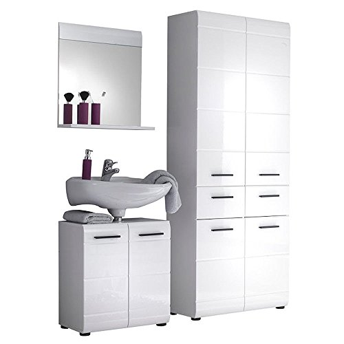 Badmöbel Set SKIN/GLOSS Bad Möbel weiß hochglanz
