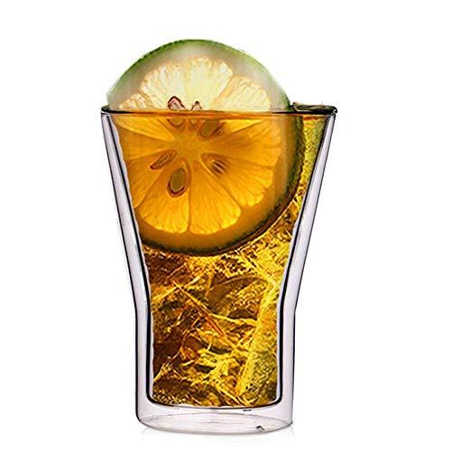 WY-YAN Paredes de doble cristal de la taza del Ministerio del Interior de vidrio de aislamiento copa de vino con Vaso Juego de vidrios 4 de vidrio transparente (color: claro, tamaño: un tamaño)