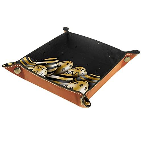 AITAI Bandeja de valet de cuero vegano, organizador de mesita de noche, placa de almacenamiento para escritorio, diseño de Papá Noel, color dorado