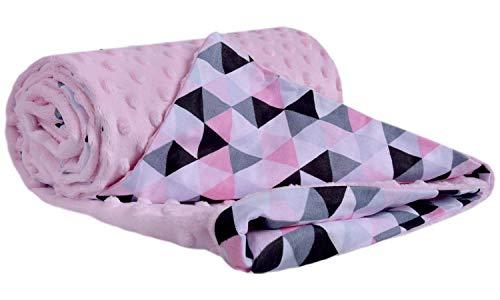Manta para gatear 100% algodón, 75 x 100 cm, doble cara, multifunción, manta para cochecito de bebé, suave y mullida. (Triángulos rosa claro Minky)