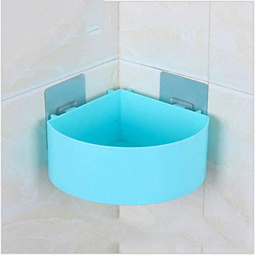 SCDZS Ducha Plataforma Ninguna perforación Plataforma de baño Durable de la Cocina for Guardar la Cesta de baño estantes de la Esquina Adhesivo Carrito de la Ducha for el champú (Color : Blue)