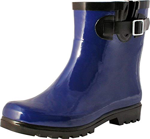 TWO Nomad Women's Dew Waterproof Rubber Rain Ankle Bootie (9 B(M) US, Shiny Navy)