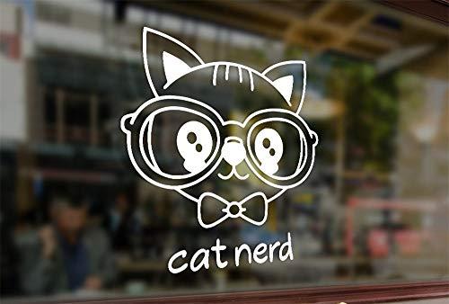 Lplpol - Adhesivo de vinilo antipolvo, diseño de gato nerd, resistente al agua, para taza, calcomanías divertidas, calcomanías de vinilo para parachoques de coche, ordenador portátil, pared de cristal, 6 pulgadas