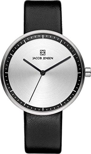 Jacob Jensen Damen Analog Quarz Uhr mit Leder Armband 32280