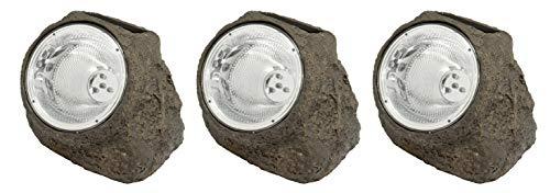 3 x LED-Solar-Leuchte-Lampe MONTE Solar-Steine-Garten-Treppen-Stimmungs-Dekorations-Balkon-Terrassen-Pool-Wege-Eingangs-Leuchte-Lamp