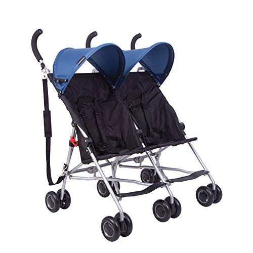 Double Strollers, Baby Pram Tandem Buggy Newborn Pushchair with Adjustable Backrest And Canopy, Foldable Baby Pushchair Buggy,Blue