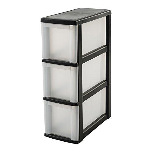 IRIS, Nischenwagen / Schubladenschrank / Rollwagen / Rollcontainer 'New Slim Chest', NSC-203, mit Rollen, für Küche / Badezimmer, Kunststoff, schwarz / transparent