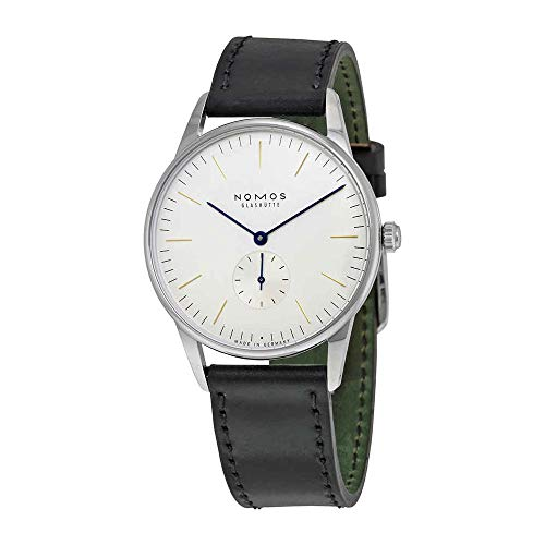 Nomos Glashuette Unisex Orion 38mm Black Leather Band Steel Case Mechanical White...
