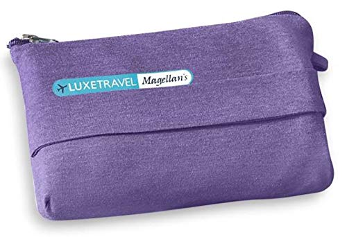 Portable, Soft, Lightweight Travel Blanket with Bag for Airplane, Taxi Cabs, Concerts or Picnics; Back Strap to Attach to Luggage (Purple)