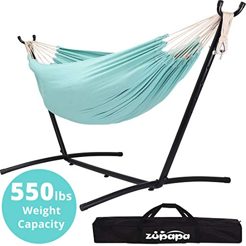 Zupapa Double Hammock with Stand and Carrying Case, Accommodates 2 People, 550 Pound Capacity Portable for Garden, Deck, Yard Indoor Outdoor Use - (Oasis Stripe)