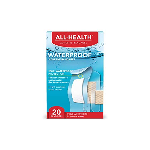 All-Health Clear Waterproof Adhesive Bandages, Assorted Sizes Variety Pack, 20 Count | 100% Waterproof First Aid for Minor Cuts & Scrapes