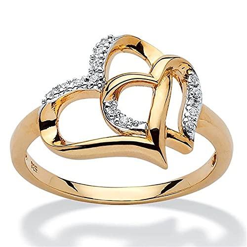 Moda de lujo princesa compromiso boda piedras preciosas naturales en forma de corazón anillos Zircon Crystal Rhinestone(8)