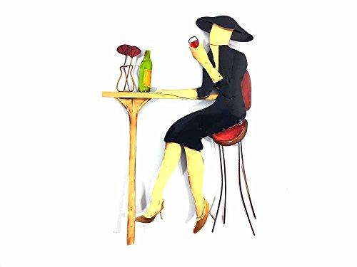 Nouveau tableau contemporain en métal ou sculpture en métal - Paris dame bar à vins scène