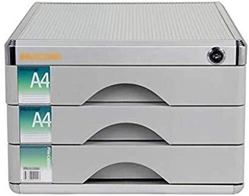 FACAIA Archivadores Material de aleación de Aluminio de Alta dureza Organizador de cajones de Escritorio con Cerradura Riel de Deslizamiento Estantería de 30X36X20.5cm (Color: Plata)