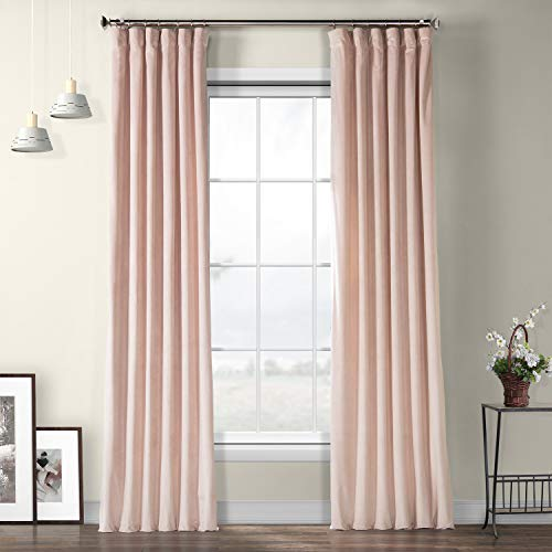 HPD HALF PRICE DRAPES VPYC-161207-96 Heritage Plush Velvet Curtain, 50 X 96, Ballet Pink