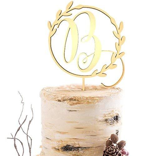 Calligraphy B Letter Cake Topper,Wedding Gold Cake Decoration