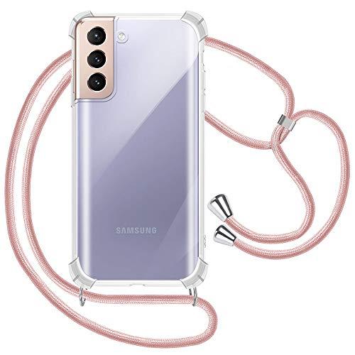 XTCASE Handykette für Samsung Galaxy S21+ 5G / S21 Plus Hülle, Smartphone Necklace Handyhülle mit Band Transparent Schutzhülle Stossfest - Schnur mit Hülle zum Umhängen in Roségold