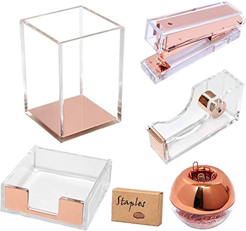 Multibey Clear Acrylic Desk Organizer Set - Include Paper Clips Tape Dispenser with Adhesive Tape Stapler Sticky Pad Holder Office Supplies Room Decor for Women Girls (Rose Gold, 5pcs set)