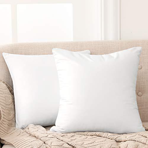 Deconovo Fundas para Cojines de Almohada del Sofá Cubierta Suave Decorativa Protector para Hogar 2 Piezas 45 x 45 cm Blanco