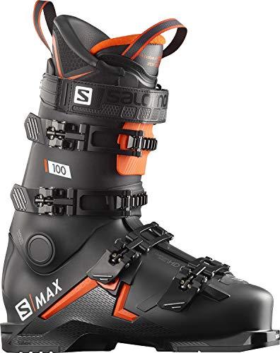 SALOMON Botas Alpinas S/MAX 100, esquí Hombre, Black/Orange/WH, 42.5/43.5 EU