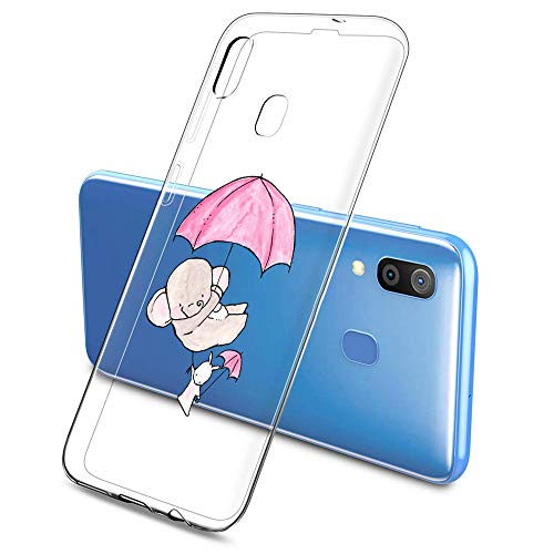 Oihxse Compatible pour Silicone Samsung Galaxy A9s 2018/A9 Pro 2018 Coque Crystal Transparente TPU Ultra Fine Souple Housse avec Motif [Elephant Lapin] Anti-Rayures Protection Etui (A5)