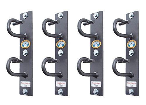 Core Energy Fitness Anchor Gym Plus Station Four Workout Wall Mount Anchors, Ceiling Mounting Hooks for Bands, Bodyweight Straps, and Ropes (Wood Screws Included)
