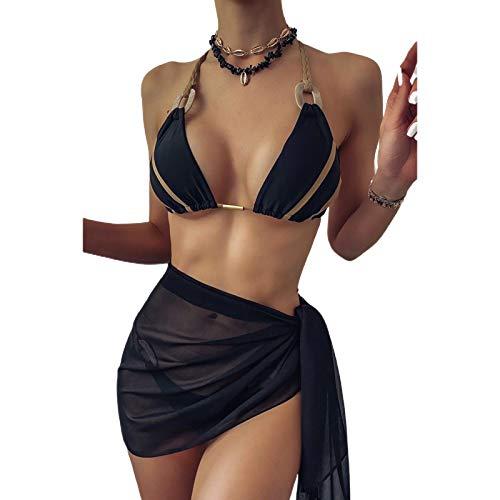 Carolilly Traje de baño de verano para mujer, falda corta, traje de baño para mujer, sexy, de gasa, protección solar, falda, ropa de playa para vacaciones (bikini no incluido) Negro Talla única