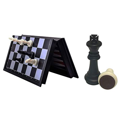 MU Chess 3 in 1 Chess Checkers Backgammon Set Travel Plastic Chess Game Magnetic Chess Pieces Folding Checkerboard Gift Entertainment Child Adult,a,25 * 25 * 2 cm