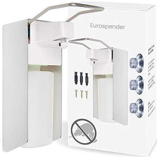 Pronovation Eurospender 500ml Vorteil: OHNE BOHREN Wandmontage für Desinfektionsmittel & Seife, Desinfektionsmittelspender mit Bügel-Mechanik