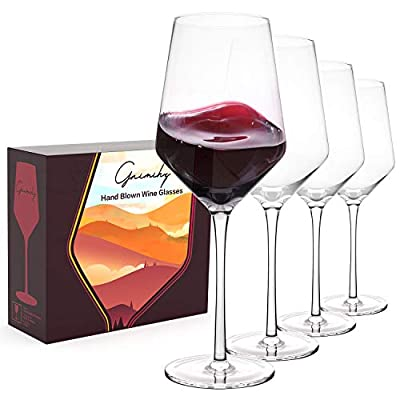Gnimihz Hand Blown Wine Glasses - Standard Red/White Wine Glass Set of 4, Made from Lead-Free Premium Crystal, Perfect for Any Occasion, Great Gift, 15Oz