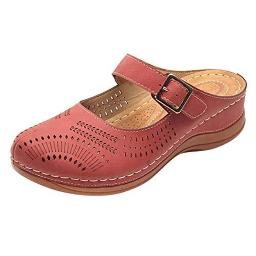 Pantoffel Cord-Slipper Arbeits-Pantoffeln Badelatschen Sommerschuhe Flipflop Flip Flop Badeschlappen Pool Schuhe Slipper Römersandalen Sandalette (43,Rot)
