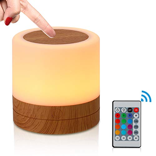 Smart Touch Control Nachtlicht, 12 Farben LED Nachttischlampe Dimmbar Atmosphäre Tischlampe mit 360° Berührungssensor, USB Aufladbar Tragbare Nachtlicht für Kinder, Schlafzimmer, Camping