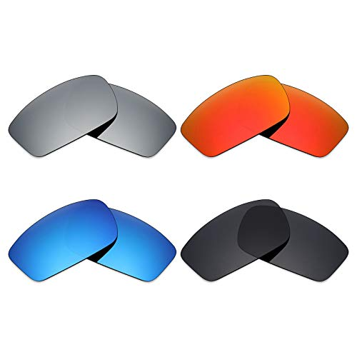 Mryok 4 pares de lentes polarizadas de repuesto para Oakley Square Wire New 2006 Sunglass - Negro sigiloso, rojo fuego, azul hielo/titanio plateado