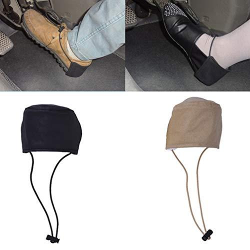 VOSAREA Driving Shoe Cover Protectors, 2pcs Wearproof Shoe Heel Pads Heel Guard Protection Cover Mat for Men Women (Black Khaki)