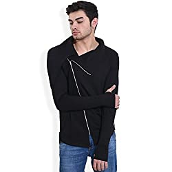 hotpool Mens Long Collar Cross Zip Black Cardigan