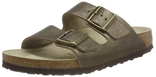 BIRKENSTOCK Damen Arizona Sandalen, Gold (Washed Metallic Antique Gold Washed Metallic Antique Gold), 39 EU