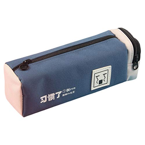 Estuche Caja de lápices de Corea Caja de Cortina de Lona for niños y niñas Suministros de papelería de Regalo Caja de lápices Creativa Bolsa de lápices (Color : Dark Blue)
