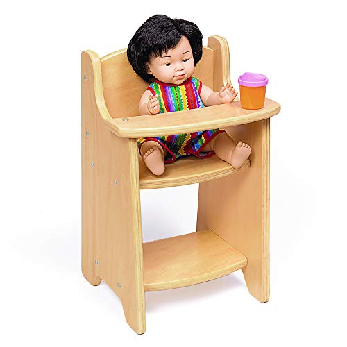 Environments 900403 Wooden Baby Doll Highchair Play Furniture, Natural Finish, Fits up-to 19.5-Inch Doll, Preschool, Kids Toy
