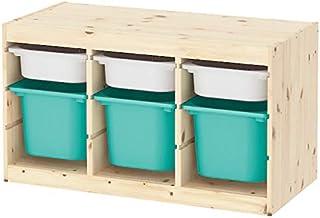 IKEA/イケア TROFAST:収納コンビネーション ボックス付き94x44x53 cm ライトホワイトステインパイン/ターコイズ/ホワイト(993.287.82)
