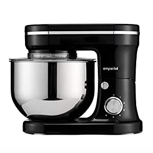 Emperial Black Food Mixer – Stand Mixer 5L Mixing Bowl & Splash Guard with 6 Speeds – Includes Beater, Dough Hook & Balloon Whisk for Cakes, Batters, Bread, Desserts 12000W