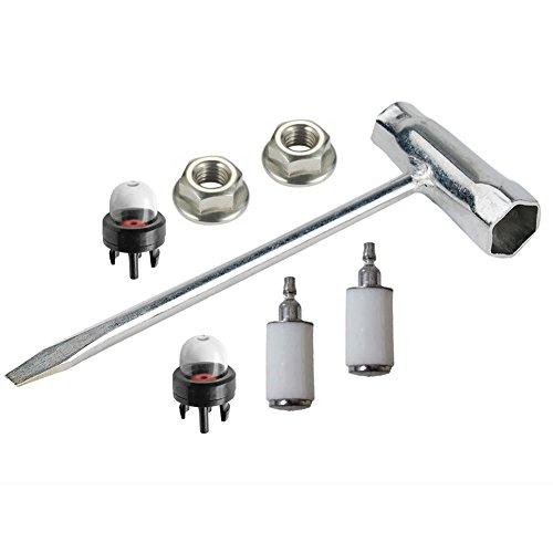 oxoxo Kit de limpieza llave sierra de cadena (Scrench) 13x 19mm con tuerca de Bar filtro de combustible imprimación bombilla para Husqvarna motosierra Motor
