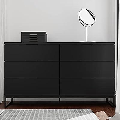 Edenbrook Preston 6DrawerDresser -Storage Chest - Modern Design - Easy Assembly - Multiple Colors, Black