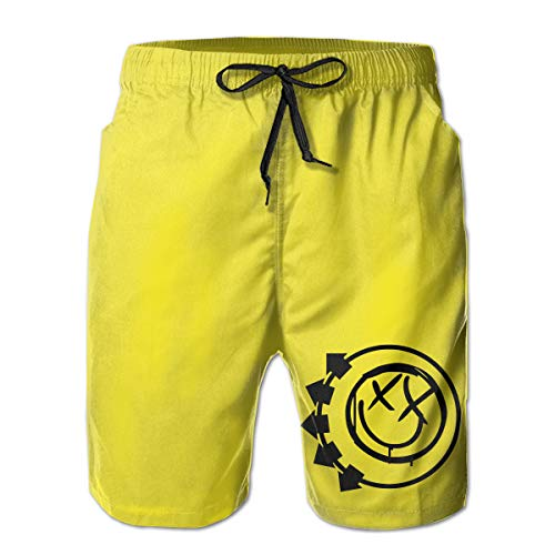Xzmafthfrw Blink 182 Mens Breathable Beach Board Shorts Swim Trunks Quick Dry White