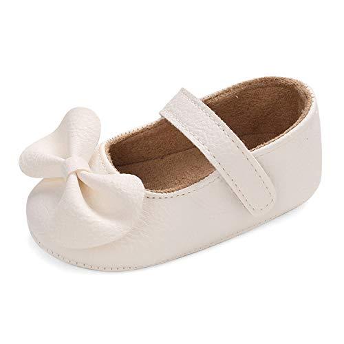 LACOFIA Baby Mädchen Krabbelschuhe Kleinkind rutschfest Bowknot Prinzessin Ballerinas Mary Jane Schuhe Weiß 12-18 Monate ( Hersteller Größe: 3)